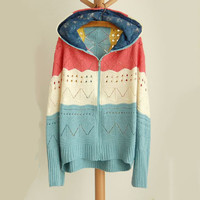 Hollow Out Wave & Stripe Crochet Hooded Sweater Coat