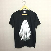 Large Screen Printed Spooky Halloween Ghost T-shirt Hipster Indie Swag Dope Hype Black White Mens Womens Cute Grunge Alternative Gothic