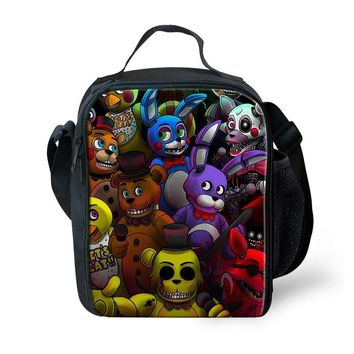 FORUDESIGNS Five Night At Freddy Lunch Bags For Women Kids Tote For School Picnic Pack Boys Insulated Termica Food Cooler Bag