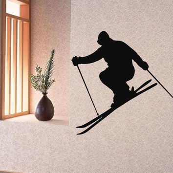 Wall Decals Vinyl Decal Sticker Art Murals Decor Man Winter Sport Skiing Kj259
