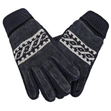 Cozy Design Men's Leather Gloves with Screen Touch Style Weave