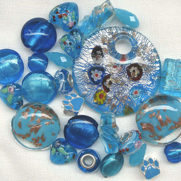 25 Pcs Bright Blue Bead Mix Assorted Beads Murano Style Glass Large Blue Pendant Metal Paw Print Beads Heart Bead Glass Heart Bead Soup