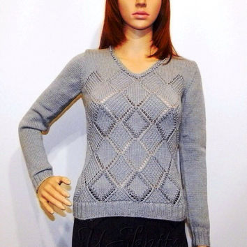 Hand knitted pullover with lace diamond pattern and beading