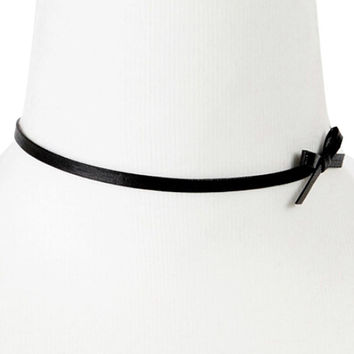 Black Bowknot Side PU Choker Necklace