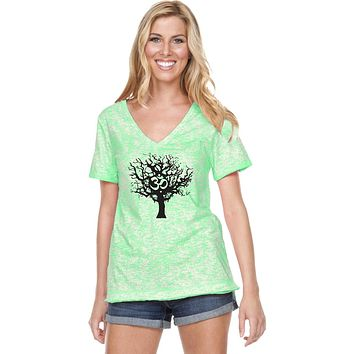 Yoga Clothing For You Black Tree of Life Burnout V-neck Yoga Tee Shirt