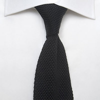 Men's Plain Black Woven 100% Silk Tie