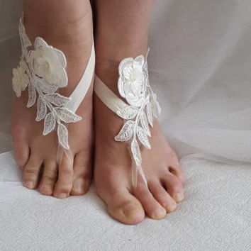 bride ivory lace,  flowers, wedding sandals,bridal accessories, barefoot sandals, bridesmaids,free shipping!