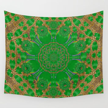 Summer landscape in green and gold Wall Tapestry by Pepita Selles