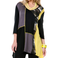 Aster Yellow & Black Patchwork Sidetail Tunic | zulily