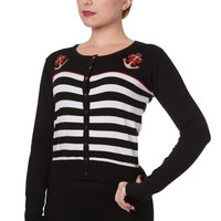 Banned Pinup Sailor Black White Striped Nautical Anchor & Bow Cardigan