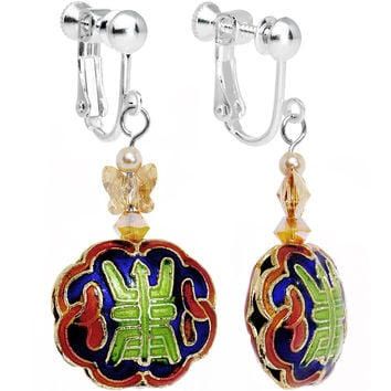 Painted Chinese Symbol Clip Earrings Created with Swarovski Crystals
