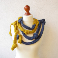 Knitted  Necklace, Big Mustard - Blue Jeans Necklace - Skinny Scarf