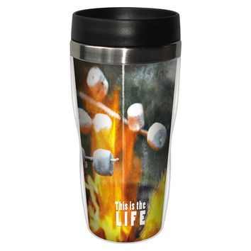 This Is The Life Artful Travel Mug - Premium 16 oz Stainless Lined w/ No Spill Lid