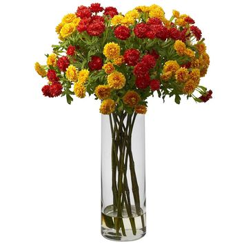 Silk Flowers -Orange Yellow Japanese Flower Arrangement Artificial Plant