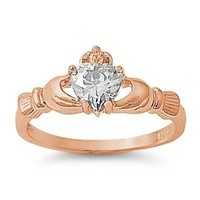 18k-Rose Gold Plated .925 Sterling Silver April Clear White Simulated Topaz Irish Royal Heart Claddagh Ring 4-10