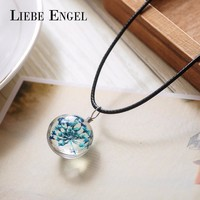 LIEBE ENGEL 5 Colors Dried Flower Glass Necklaces & Pendants Wax Rope Choker Necklace Statement Necklace Women Collares Jewelry