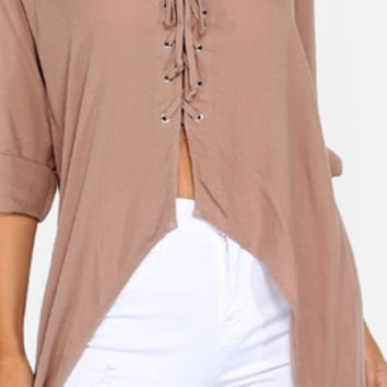 Lace Up High Low Blouse MOCHA | MakeMeChic.COM