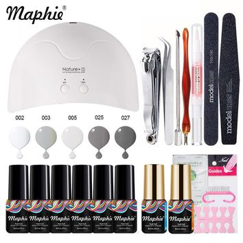 Maphie 19Pcs/Lot Nail Dryer Tools Set 5 Pcs Salon Nail Gel Polish Nature1 Led Lamp Nail Cure Machine Set Professional UV Gel Kit