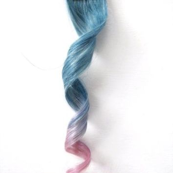 4x Clip in Human Hair Extensions Powder Metallic Blue light Purple Pink Ombre