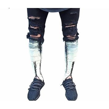Ripped Patchwork Skinny Zipper Jeans