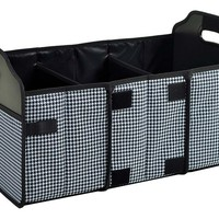 One Kings Lane - Open-Air Afternoons - Foldable Trunk Organizer, Black/White