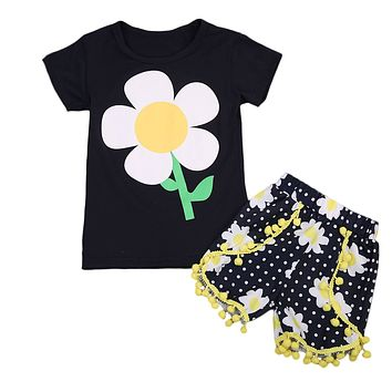 Kids Baby Girls Clothing Set Outfit sunflower T-shirt Tops+ Floral Tassel Shorts Outfits Clothes