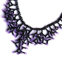 Black Purple Necklace. Wedding Necklace. Bridesmaids Necklace.  Beadwork