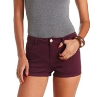 "Refuge ""Hi-Rise Shortie"" High-Waisted Shorts - Deep Purple"