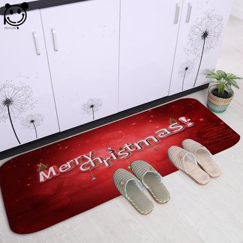 Autumn Fall welcome door mat doormat PEIYAUN Cartoon Red and Blue Merry Christmas Letter Soft Flannel  Factory Custom Made Floor Mat Carpets for Hallway AT_76_7