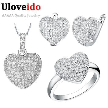 Uloveido 50% off African Wedding Jewelry Sets Costume Silver Color Heart Love Shape Jewellery Necklace Earrings Ring Set T004
