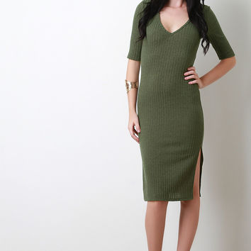 Solid Ribbed V-Neck Dress