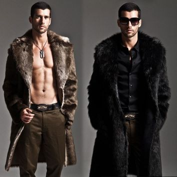 Men Fur Coat Winter Faux Fur Outwear On One Sides Coat Men Punk Parka Jackets Long Leather Overcoats Genuine Fur Brand Clothing