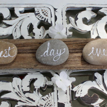 Best Day Ever Driftwood and Rock Decoration , Beach theme Wedding Decor , Coastal Nautical Reception