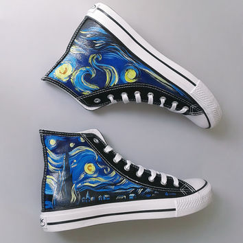 Hand painted sneakers: Starry Night van Gogh theme, handmade chucks, van Gogh shoes, hand painted shoes, painted chucks, Converse