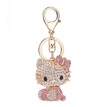 New Arrival Hello Kitty Pendant Creative Rhinestone Keyrings Gold Color Keychains Women Purse Bag Charm Jewelry