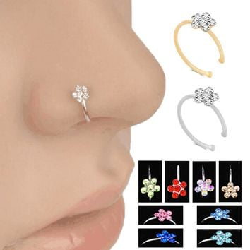 Fashion Jewelry Ring Crystal Flowers personality Nosering Body Jewelry