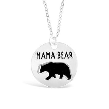 Silver Mama Bear Necklace - Meaningful Round Plate Necklace for Women