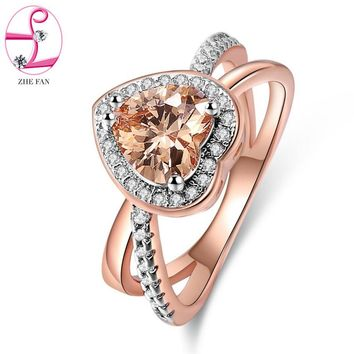 ZHE FAN Cubic Zirconia Heart Ring Luxury AAA CZ Halo Rhodium Rose Gold Color 2 Tone Engagement Wedding Rings Jewelry Size 5-10