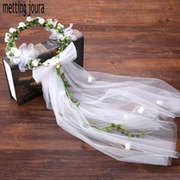 Metting Joura Wedding Bridal Green Flower Wreath with long White Veil Headband Hair Jewelry