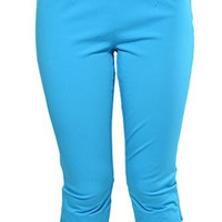 INC Flat Front Pull On Stretch Capri (Turquoise Blue)