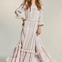 B| Chicloth Pink Stripe Off the Shoulder Lotus Leaf Boho Dress