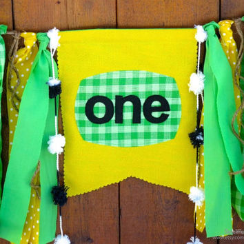 John Deere Birthday Banner High Chair Highchair Garland Bunting Farmer Tractor First One Birthday Decor Cake Smash Photo Prop Yellow Green
