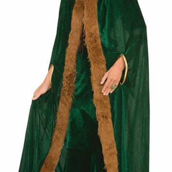 Faux Fur Trimmed Cape - Green - Fml