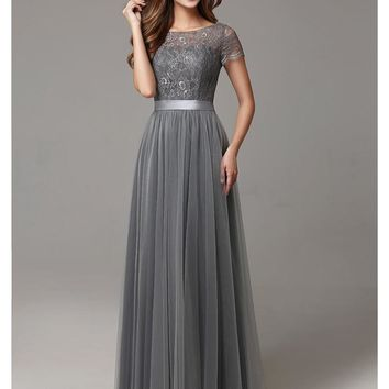 2017 Grey Long Modest Lace Tulle Floor Length Women Bridesmaid Dresses Short Sleeves Sheer Neckline
