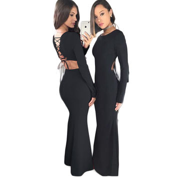 Lace-Up Black Evening Maxi Dress with Sleeves 22124