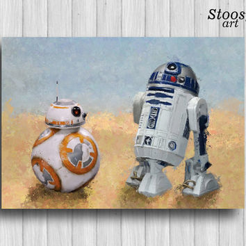 R2D2 and bb8 print star wars nursery decor droid painting