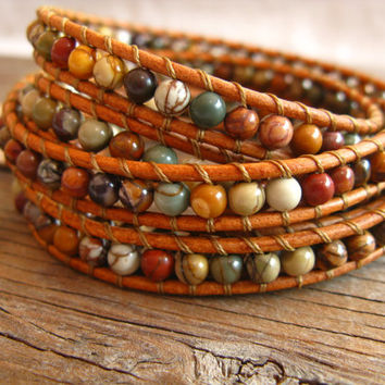 Picasso Jasper Beaded Leather Wrap Bracelet, 5X Wrap, Country Chic, beaded bracelet, Boho Wrap