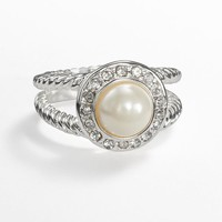 Silver Tone Simulated Pearl & Simulated Crystal Frame Ring (White)