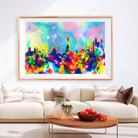XL Poster New York Ny City Skyline Art Abstract Print Photo Paper Watercolor Wall Decor Home (frame is not included) FREE Shipping USA !!!