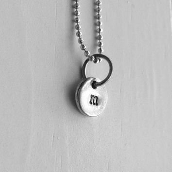 m Necklace, Sterling Silver Jewelry, Initial Necklace, Monogram Necklace, Sample Sale, Small Initial, Hand Stamped Initial, Charm Necklace